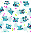 seamless pattern with funny blue alien character vector image vector image
