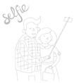 selfie photo black and white vector image