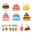set birthday cakes birthday party elements vector image vector image