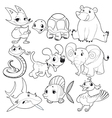 Set of animals in black and white vector image