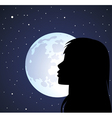 silhouette a girl and moon vector image vector image