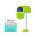 Special offer in envelope mailbox for letters