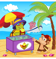 turtle sells ice cream on beach vector image