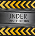 under construction background metal texture with vector image vector image