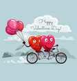 valentines day hearts riding bicycle with balloons vector image
