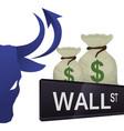 wall street new york bag money vector image vector image