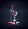 wine glass neon sign bottle of wine neon logo vector image vector image