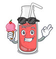 with ice cream strawberry smoothie character vector image
