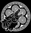 wolf on celtic style howling wolf in celtic vector image
