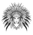 young girl in war bonnet vector image vector image
