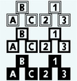 Alphabet cubes with ABC letters and numerals vector image