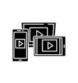 adaptive video design black icon sign on vector image vector image