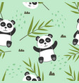 adorable little panda seamless pattern vector image