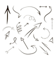Arrows and lines hand drawn set isolated on gray vector image vector image