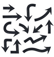 black arrows thick bold signs vector image vector image