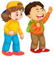 boy and girl student character vector image