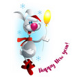 christmas rabbit with balloon vector image