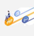 code development work web engineering coder vector image