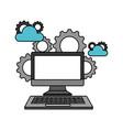 computer device cloud storage gears vector image vector image