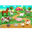 Farm animals with background vector image