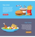 Fast Food Concept Flat Style Web Banners vector image vector image