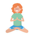 fit woman practicing yoga vector image vector image