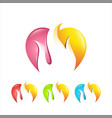 flame and love care colorful logo vector image vector image