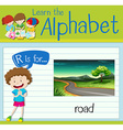 Flashcard letter R is for road vector image vector image