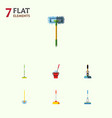flat icon cleaner set of equipment broom vector image vector image