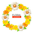 flower wreath of spring wildflowers summer vector image
