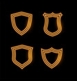 four golden neon shield icons vector image vector image