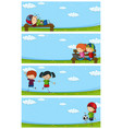 four park scenes with happy children vector image vector image