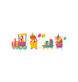 funny parrot tiger and fox with balloons on train vector image