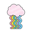 grated cloud with bright rainbow with sky design vector image vector image