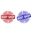 grunge body shop scratched round stamp seals vector image vector image