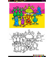 happy aliens characters group color book vector image