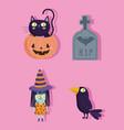 happy halloween pumpkin witch tombstone raven vector image vector image
