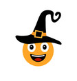 happy halloween smiley in witch hat vector image vector image