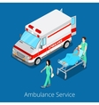 Isometric Ambulance Service with Emergency Car vector image vector image