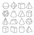 isometric geometric figures vector image vector image