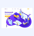 isometric landing page for education vector image vector image