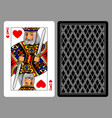 king of hearts playing card and the backside vector image vector image