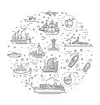 line set ships and boats vector image