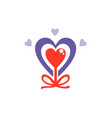 love heart valentine abstract ribbon logo vector image vector image