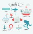marine cute elements and lettering name in english vector image vector image