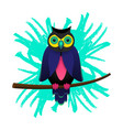 psychedelic owl on a branch tree isolated on brush vector image