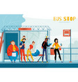 queue people bus station composition vector image