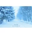 Realistic blurred winter landscape background vector image