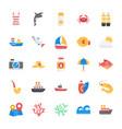 sea life flat icons set vector image