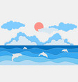 sea view with dolphin and clouds paper cut and vector image